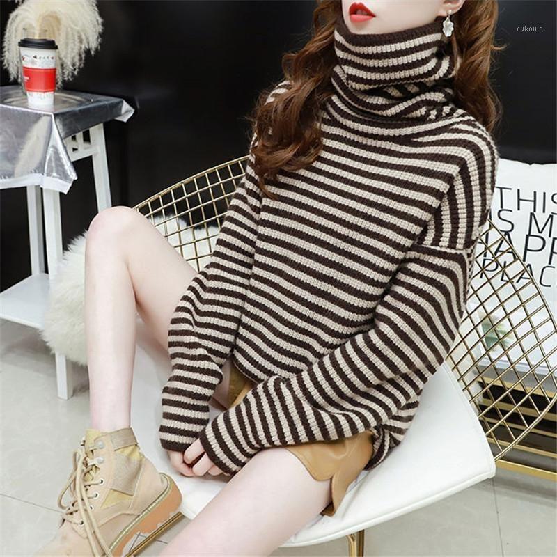 Свитера Женщины вязаные Turtelneck полосатый свитер пуловер осень зима повседневные женские с длинным рукавом упругость свитер Tops1