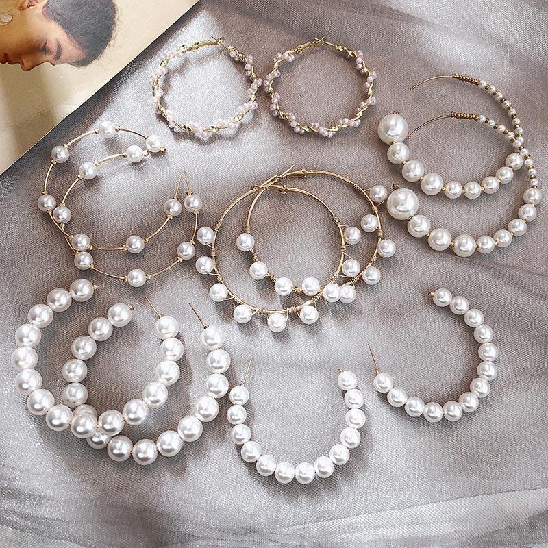 Declaração coreana branco pérola de imitação Círculo Hoop brincos para mulheres em torno pérola do falso Big Earings Boho jóia do casamento