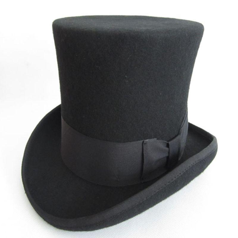 WZCX wełniany łuk jednolity kolor wykonywać magik kapelusz unisex moda nowa osobowość płaski top wysoki czapka jazzowa do góry kapelusz 201028