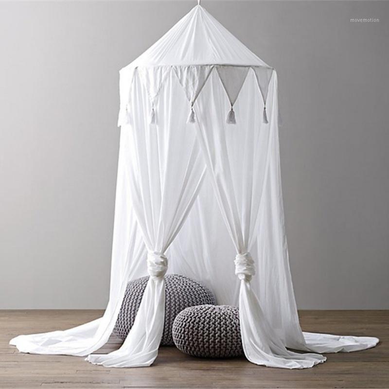 Kid Bébé Lit Canopy Literie Rideau de moustiquaire Coupe-Dôme Tente Coton Hung Dôme Hung Dôme Scriffon Pennant Fringed Mosquito Net1 SCVCA