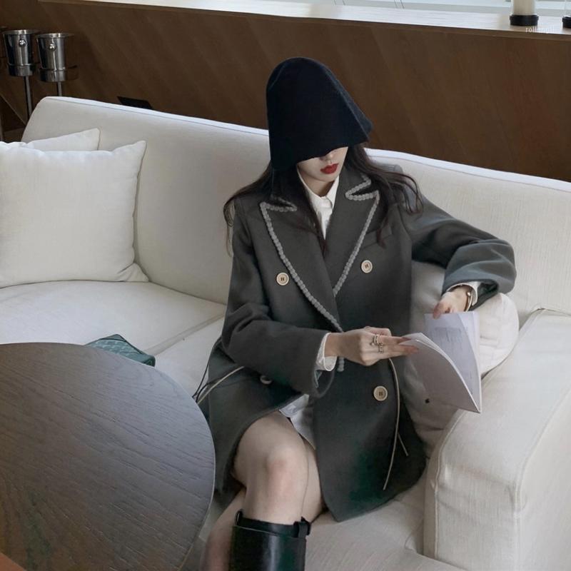 Женская шерстяная смесь карманный деловой костюм для женщин воротник двубортный шерстяной пальто корейский стиль вскользь осенние пальто blazers1