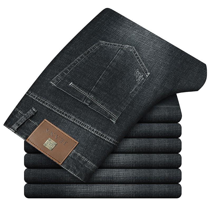 2020 Autumn Blue Men Business Jeans Basics Hose Qualität Relax Fit Straight Leg