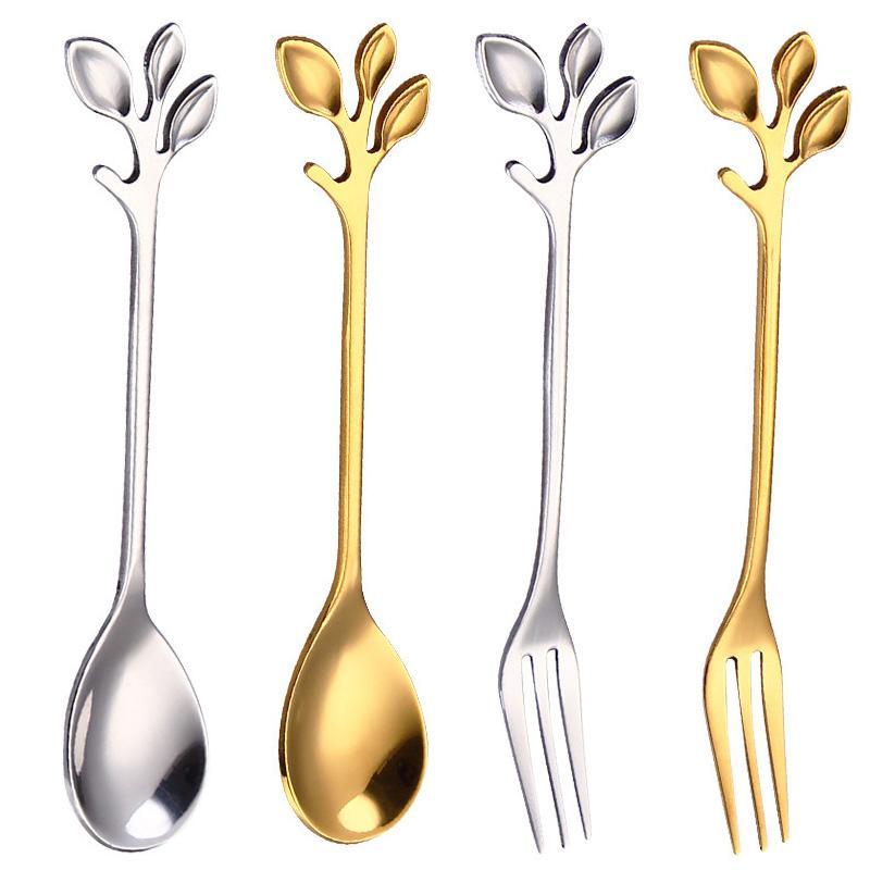 2020 acero inoxidable nuevo cucharillas de café rama de árbol cuchara tenedor oro postre casa cocina comedor cuchara Cubiertos agitación con el envío rápido