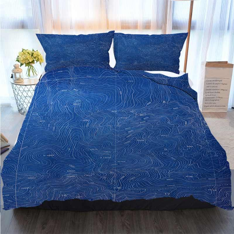Ropa de cama 3 piezas funda nórdica Establece diseño del plano topográfico funda nórdica edredones diseñador juegos de cama
