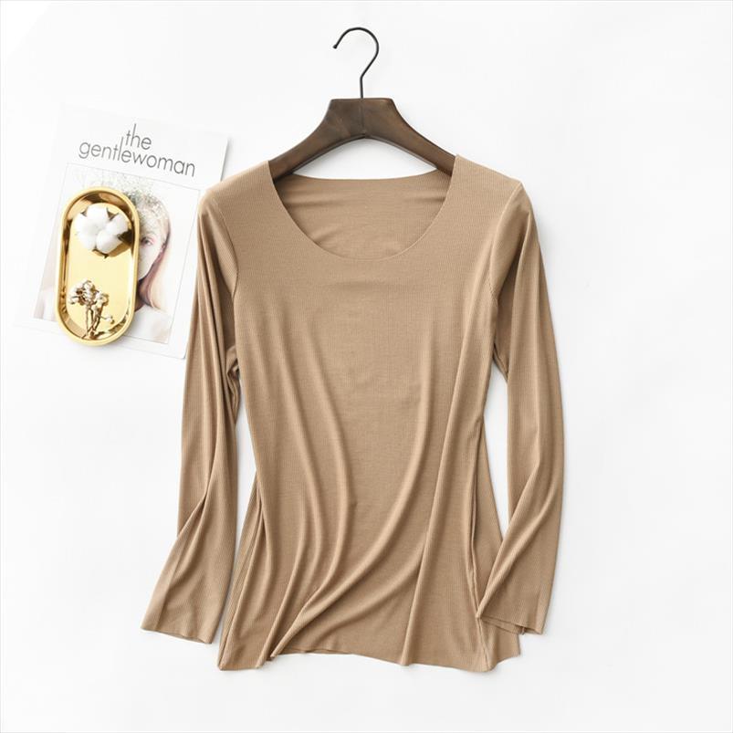 Neue T-Shirt Frauen-Baumwoll gewellte gestreifter Tops Harajuku-T-Shirts 2020 Frühling-lange Hülse koreanische Plus Size T-Shirt camiseta feminina
