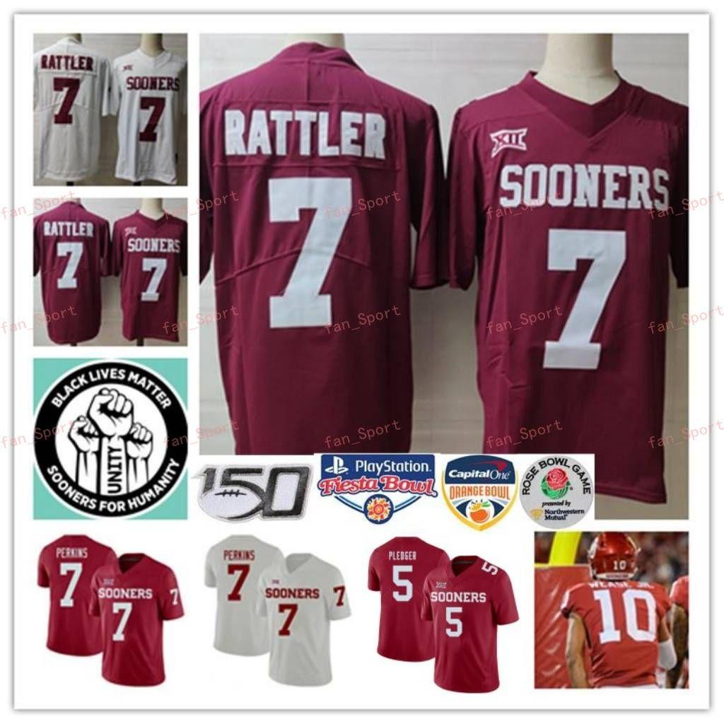 Mens Oklahoma früher Spencer Rattler Football Jersey 5 t.j. BEDER 10 THEO WEASE Jr. 11 Jadon Haselwood 7 Ronnie Perkins Jersey S-3XL