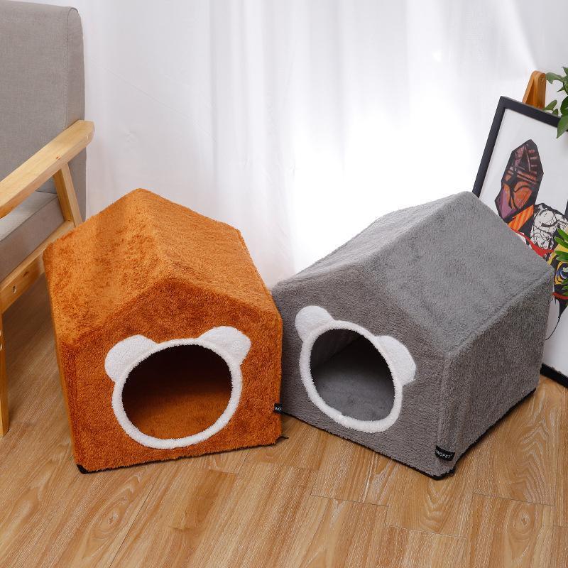 Кровати кошка мебель пушистая кровать складной милый пещерный дом для маленьких щенков Teepee мягкая теплая зимняя зимняя котенка в дверь капаб