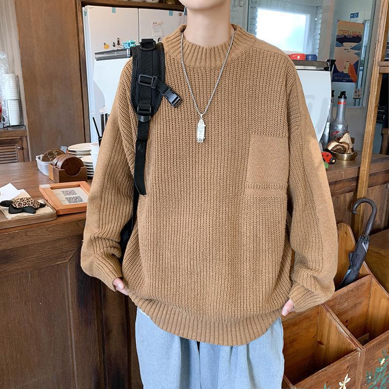 Мужские свитера осенью ins круглые шеи свитер мужчина корейская версия тенденция свободный студент пуловер твердый цвет с длинными рукавами