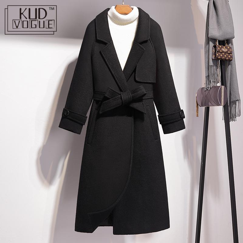 Sonbahar Kış Coats Kadın Ceket Yün Coat Yün Kuşak Parka Kaşmir Palto Y200930 ile Trençkot Oversize Uzun Yün Coat Blend