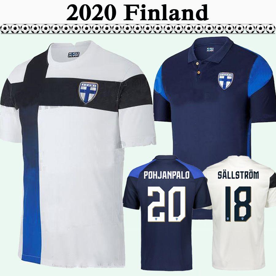 2020 Finlande Équipe Nationale Hommes Soccer Jerseys Pukki Skrabb Raitala Jensen Lod Home Blanc Blanc Black Football Shirt Haut Adulte À Manches courtes