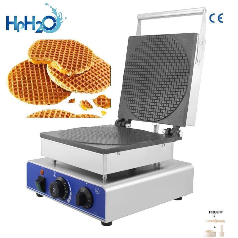صناع الخبز التجارية الكهربائية هولندا جولة stroopwafel صانع syrup الهراء آلة مخروط فقاعة الحديد كعكة الفرن