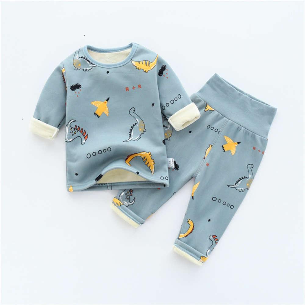 Définir les sous-vêtements d'hiver des garçons chauds chauds avec pyjama pyjama pyjamas de pyjama de bébé peluche et épaissie