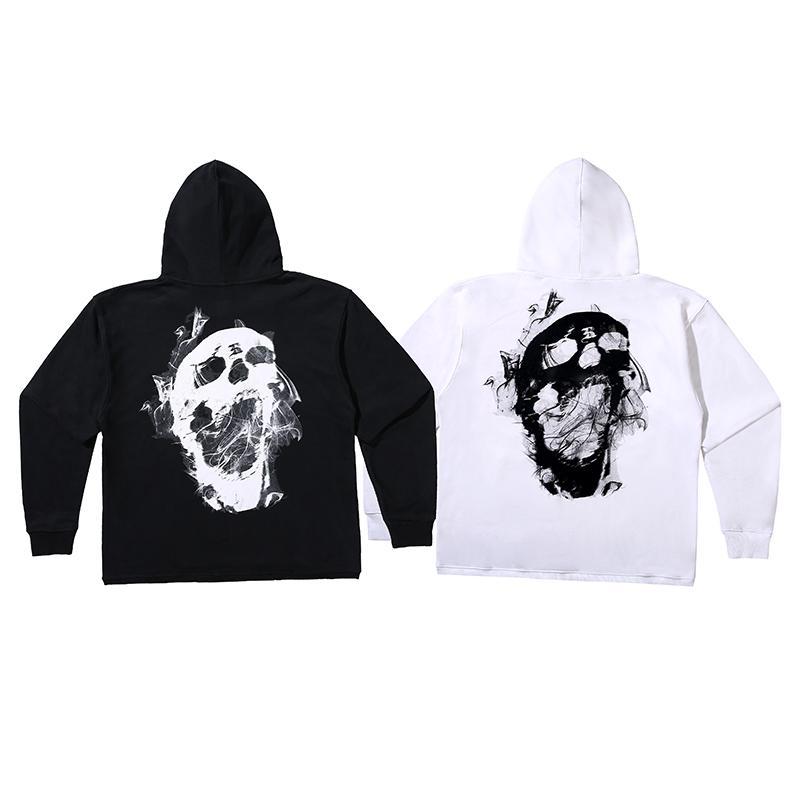 Europa fredda autunno inverno Hip Hop caldo con cappuccio Smoke Skull Hoodie del panno morbido Hoody casuale Streetwear Felpa