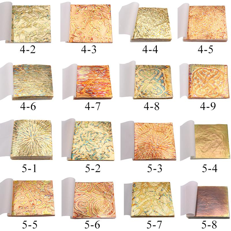 Gold Sheets Red Copper Foil in Nail Decoration Ceramic Art Craft Paper Gilding 14X14cm Variegated Bronze Leaf 50pcs/booklet Q1106
