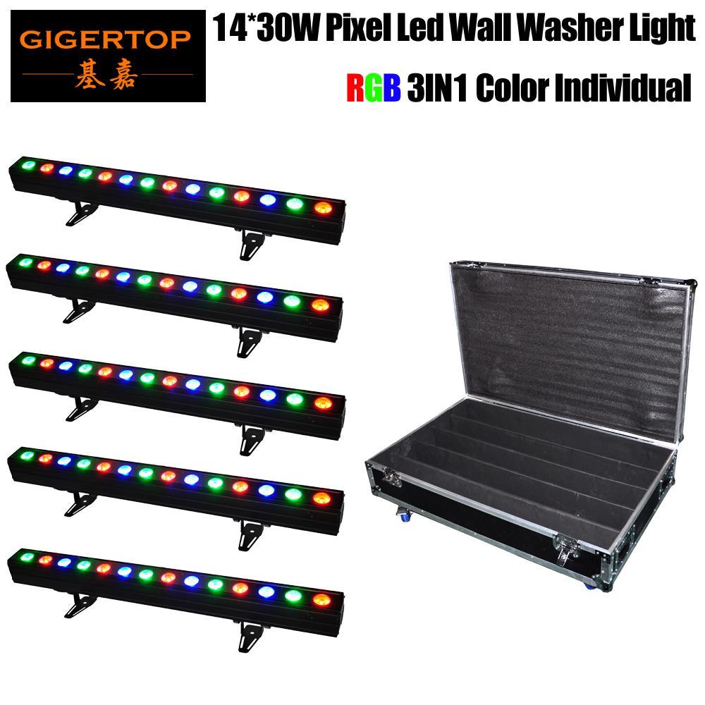 Commerci all'ingrosso Wall Washer Confezione LED Prezzo 5in1 Roadcase 14x30W COB RGB 3IN1 DJ Club Disco Bar DMX luce 100 centimetri Lunghezza casa in alluminio