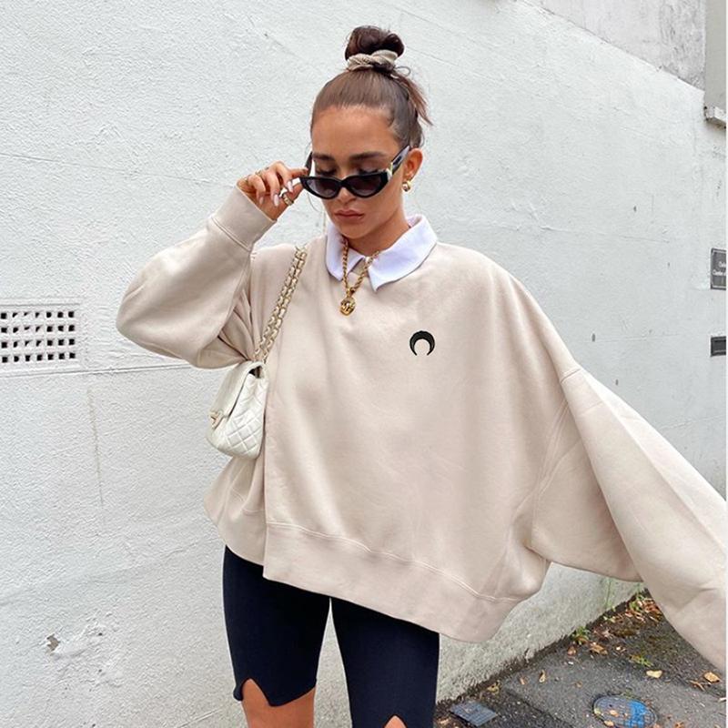yuqung женщины вышивки толстовки осень Harajuku вскользь свободный негабаритный Толстовка Streetwear Basic 2020 Мода Топ женский Y1114