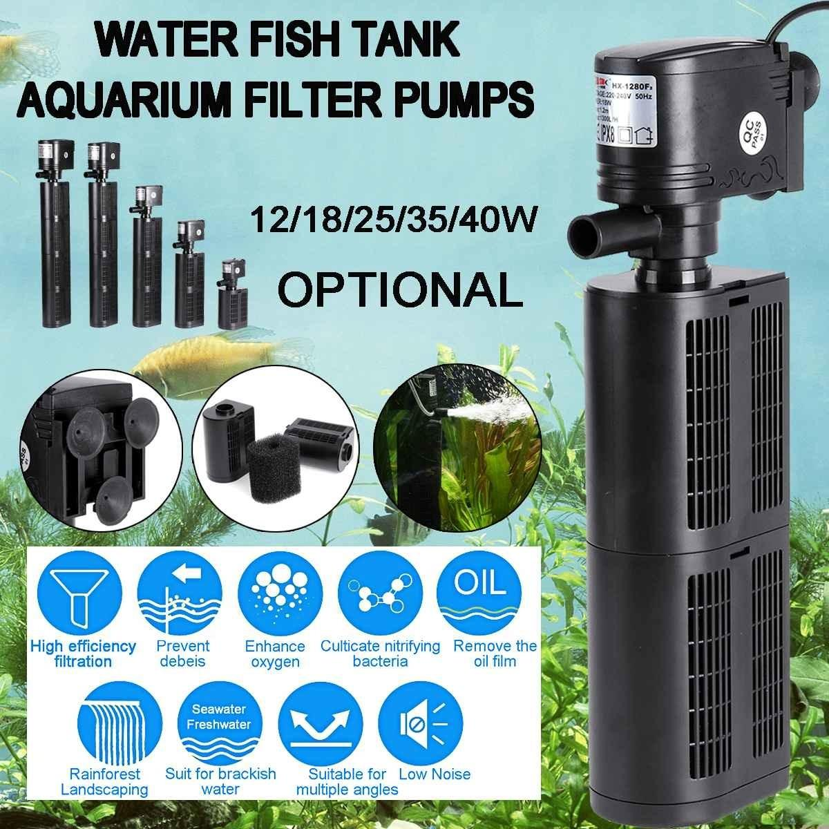 3 in 1 Fish Tank Aquarium Filter Pump Submersible Air Pump Air Oxygen Increase Aquarium Internal Filter Pump 12/18/25/35/40W Y200917
