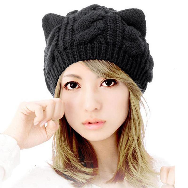 Женщины Cat Уши шлема Beanie вязания Вязаные Симпатичные зимы шлема теплые черепа громоздкая Колпачки gorros Mujer Invierno капот головной убор