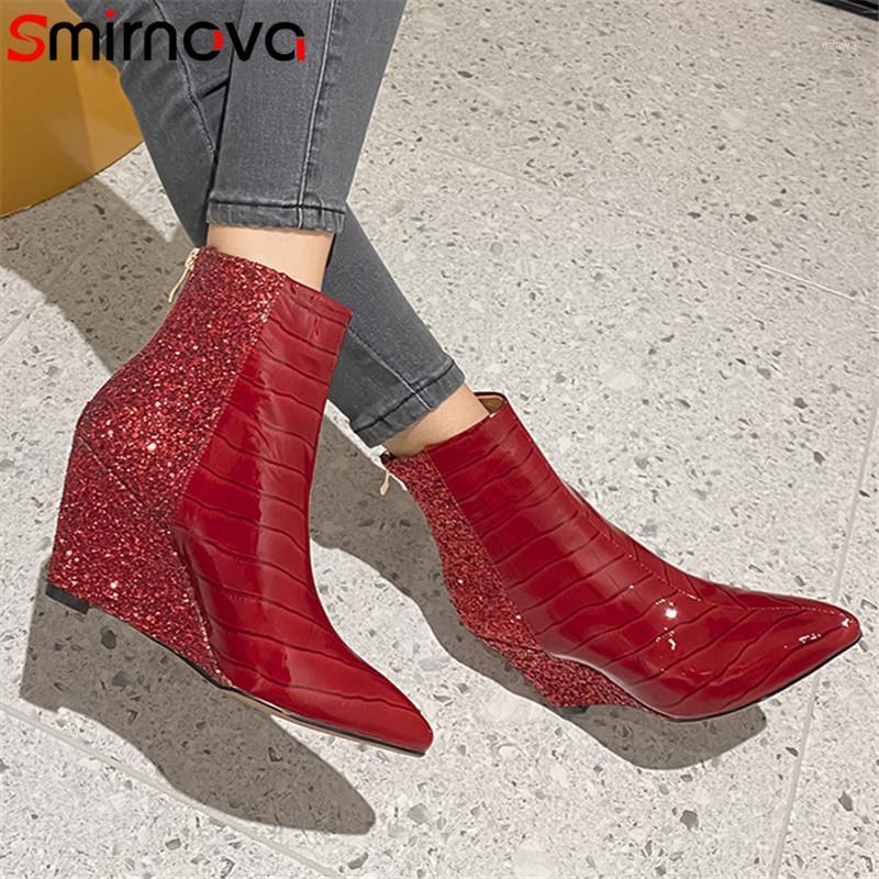 Çizmeler Smirnova 2021 Kırmızı Est Parti Düğün Ayakkabı Kadın Ayak Bileği Sivri Burun Hakiki Deri Sequins Moda Takozlar Ladies1