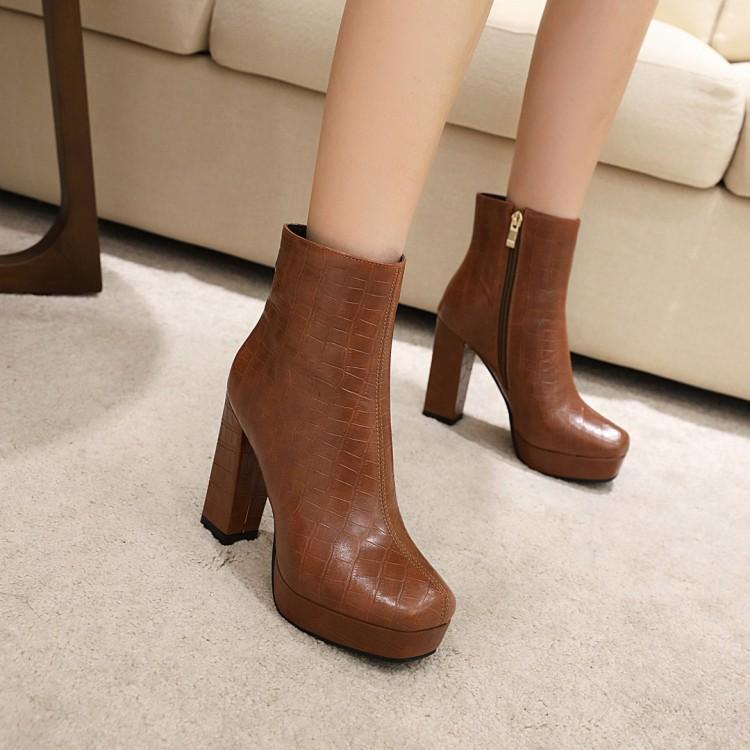 Toe Rodada Botas de Inverno Lady Boots-mulheres tamanho grande sapatos Mulher Sapatinho Platform Ladies Luxury Designer saltos baixos