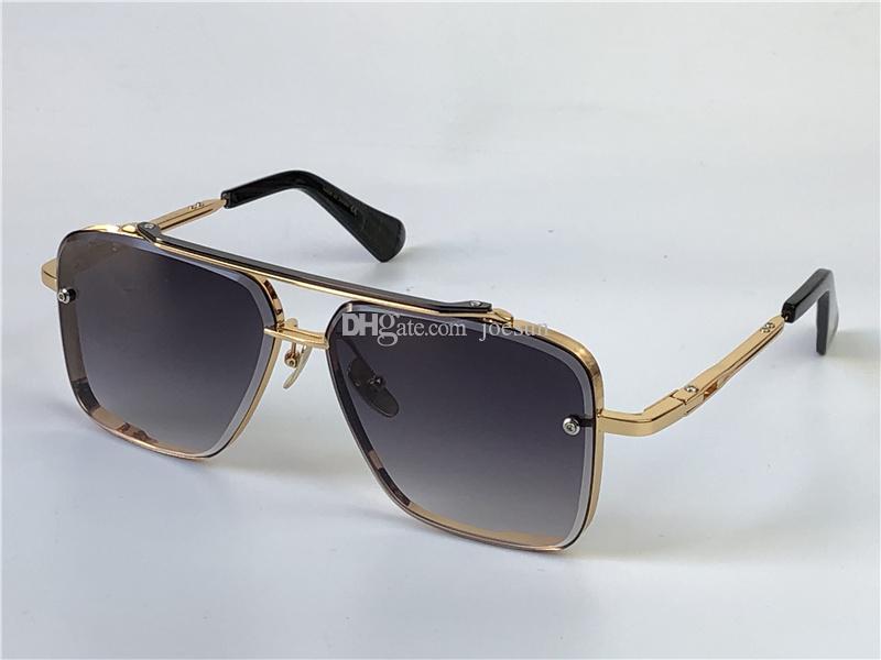 선글라스 남자 디자인 금속 빈티지 안경 패션 스타일 사각형 프레임리스 UV 400 렌즈 케이스