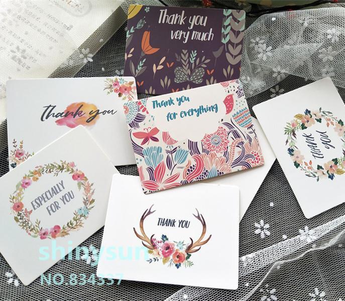 """Cartões 50 pçs / lote mistura de cores de flor de flores cartão """"Obrigado"""" Pequena mensagem de presente gravável 6x8cm decoração1"""