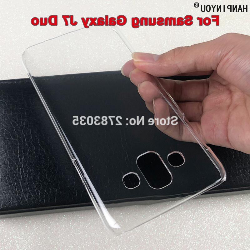 """Para Samsung Galaxy J7 Duo () J720F 5.5"""" brillante broche de teléfono caja de cristal invisible dura de la PC claro de la cubierta Proteger Atrás Shell"""