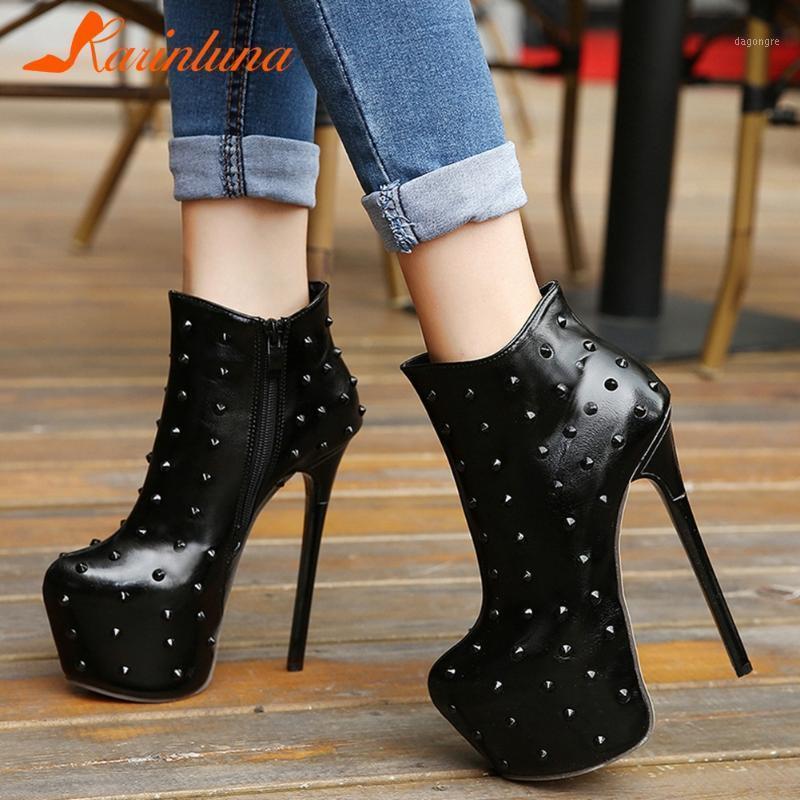 Высочайшее качество Новая Обувь Женщина Тонкие ультра Высокие каблуки Сексуальная вечеринка Круглый Носок Высокая Платформа Заклепки Мода Boots1