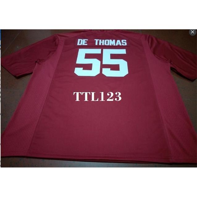 Männer # 55 Derrick Thomas Alabama Crimson Tide Red Black White College Jersey oder benutzerdefinierte Neiner Name oder Nummer Jersey