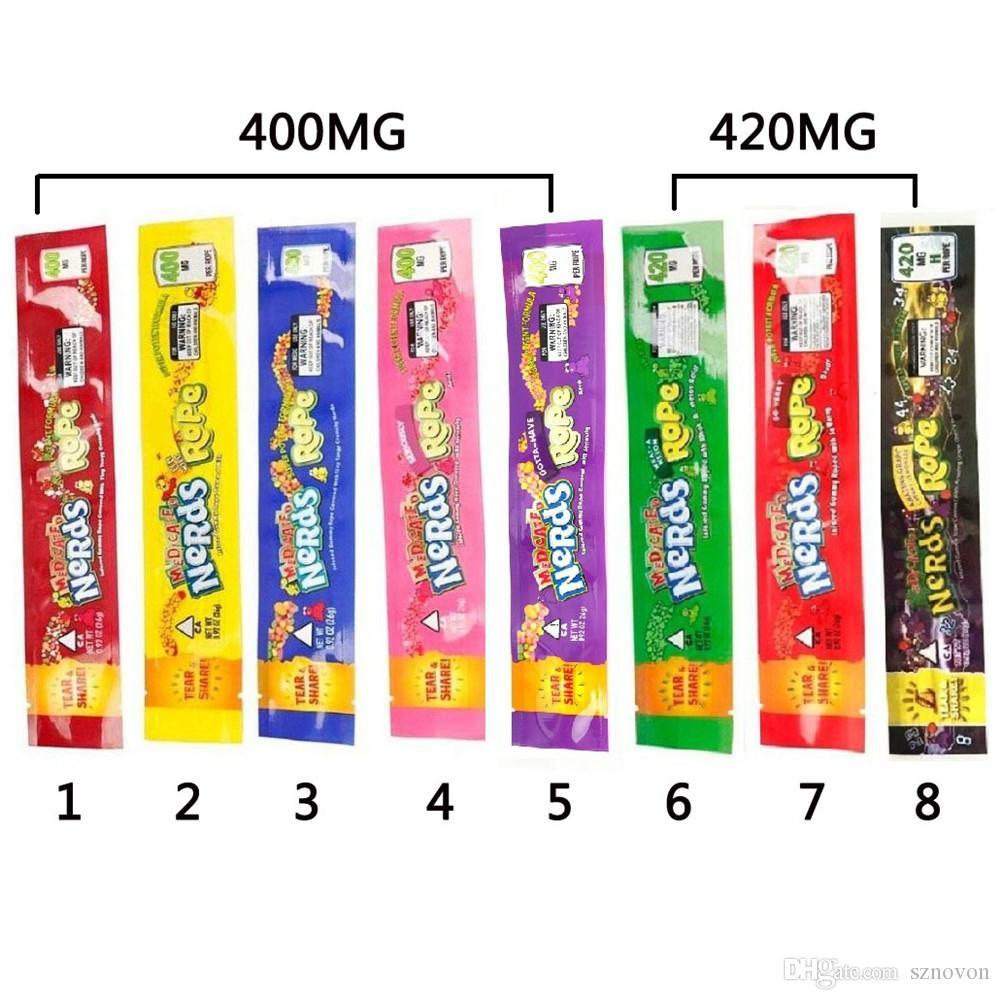 8 Renkler İnekler Halat Mylar Çanta Nerds Halat Boş Perakende Ambalaj Paketi Isırıklar Egzotik Şeker Çanta Nerds Halat Kuru Herb Şeker Nerdsrope Sakızlı Çanta