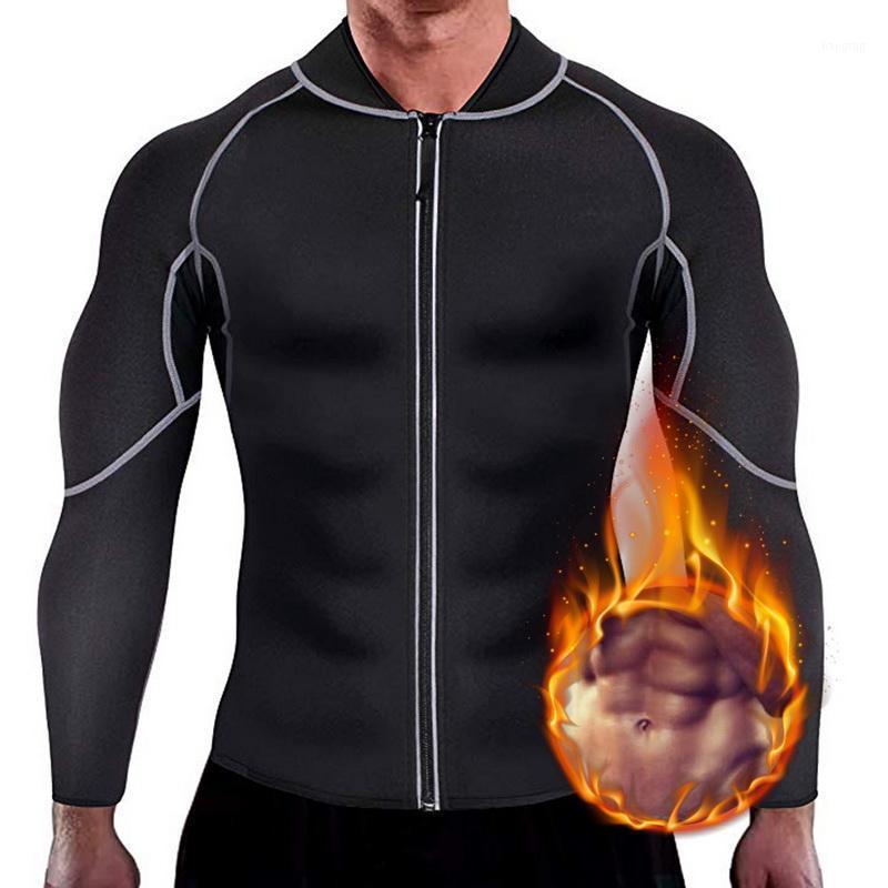 Мужские куртки 2021 мужская неопреновая сауна с длинными рукавами Фитнес Thermo Shapeewear High Compressing Travel Travet Top Toot1