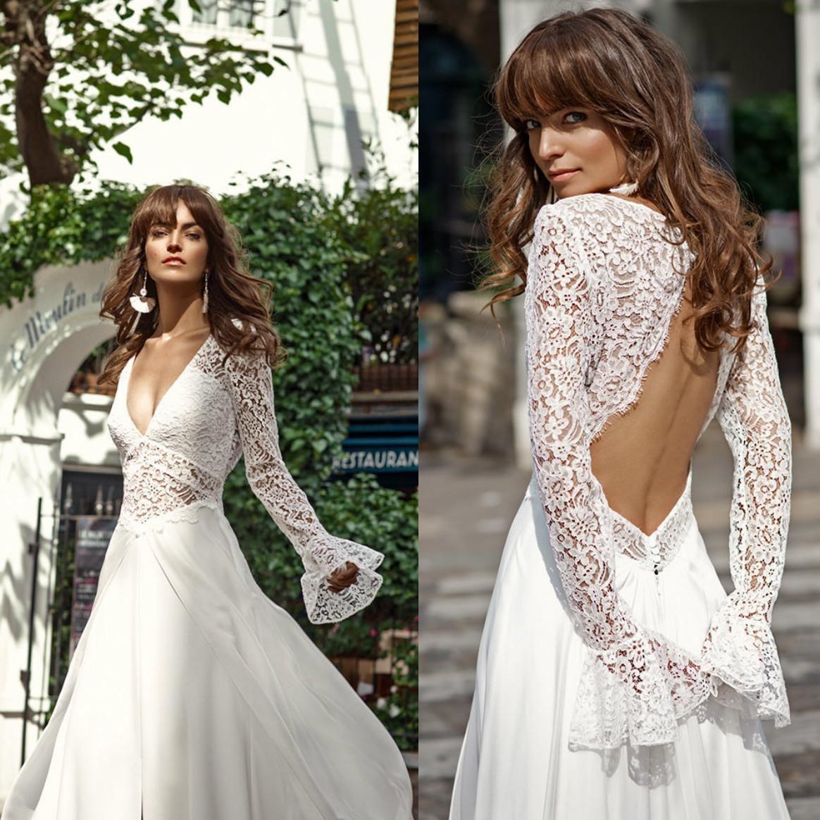 2021 Mode Satin A-line Brautkleider V-Ausschnitt Lange Ärmel Spitze Appliques Brautkleider Backless Sweep Zug Garten Hochzeitskleid