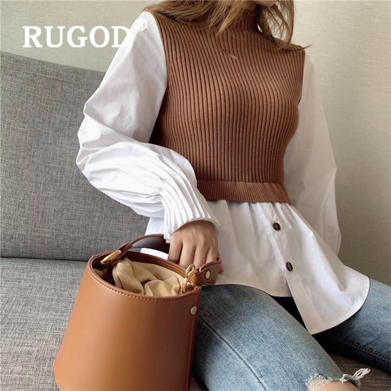 camisola de outono coreano estilo vintage o-pescoço das mulheres de malha suéteres pulôveres mais tamanhos patchwork ealstic blusa branca 201016