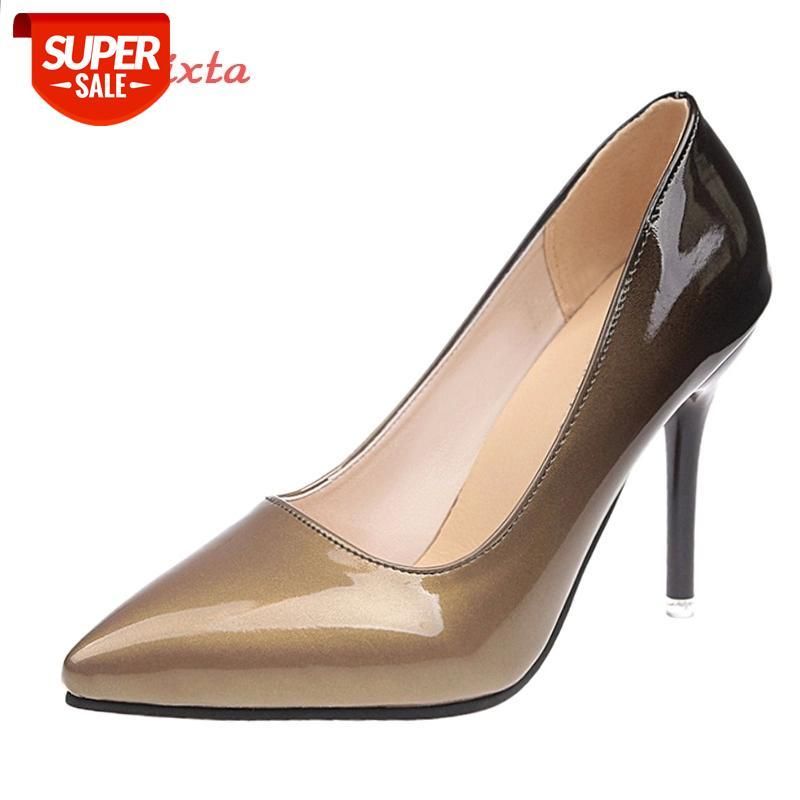 Aphixta 10cm tacones de aguja tacones bombas zapatos de mujer puntiaguda Patente de patente de cuero vestido de fiesta calzado zapatos mujer más tamaño 48 # dn9z
