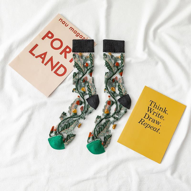 Girasol de verano medias de verano Dama transparente medio ultra delgado calcetines elasticidad moda calcetín mujeres al aire libre 3 2la O2