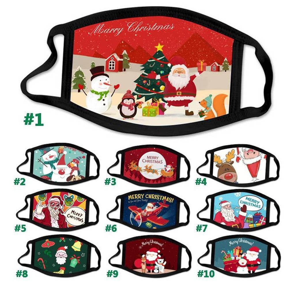 Joyeux Noël Impression Masque Visage Joyeux Festival Couverture anti-poussière réutilisable Lavable Père Noël bonhomme de neige cerf Joyeux Noël Masques