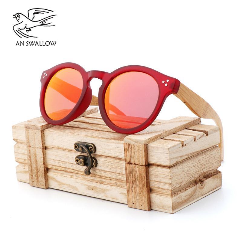 Summer Retro Style carré rose dames de jambes avec Bamboo Mirror lunettes polarisantes Voyage en coffret bois