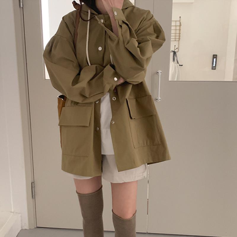 Осень Mid Long Solid Color Сыпучие Bubble Sleeve с капюшоном Ветровка 2020 Леди Мода Большой карман пальто