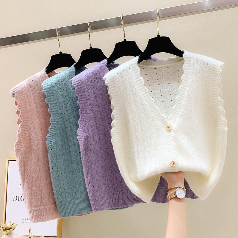 Manica corta inverno senza maniche Fashion allentato con scollo a V maglione lavorato a maglia merletto di colore solido Cardigan permuta delle donne