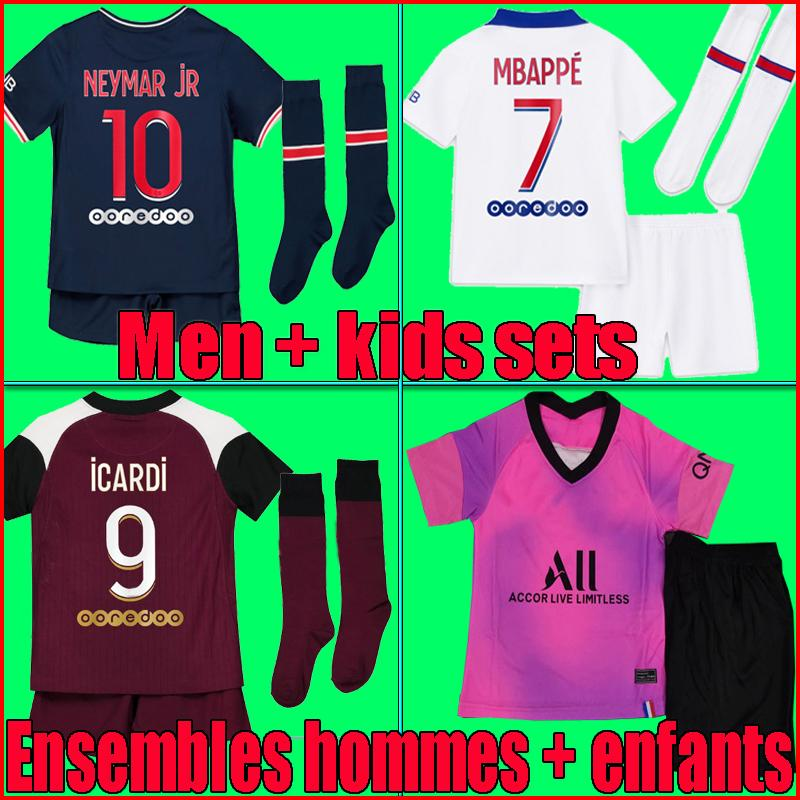 20/21 Paris kids kit soccer jersey maillot 2020 2021 mbappe ICARDI Enfant Maillot de foot uniform Paris CAVANI VERRATTI football shirt kits