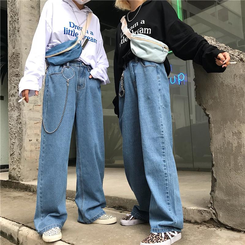 LAPPSTER taille haute Jeans Pantalons Femmes Boyfriend Jeans Denim pour les femmes Harajuku Sarouel femme jambe large Blue Jeans Pantalons 201020