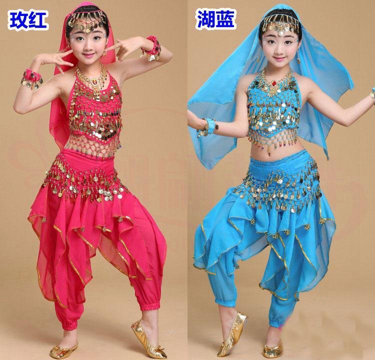 Girl Belly Dance Costume Наборы Детские Индийские Танцевальные Платье Детские Болливудские Танцевальные Костюмы для Девочкой Производительность Носите 6 Цветов