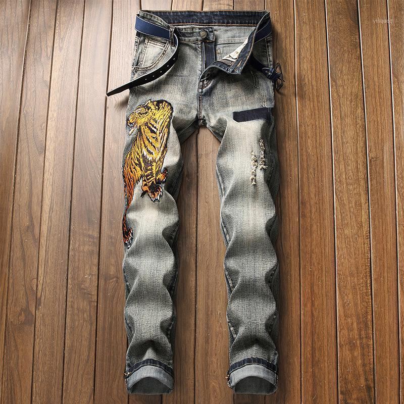 Men's Fashion Trend Straight Jeans Distressed Denim Pants Winter Ripped Denim Trousers1