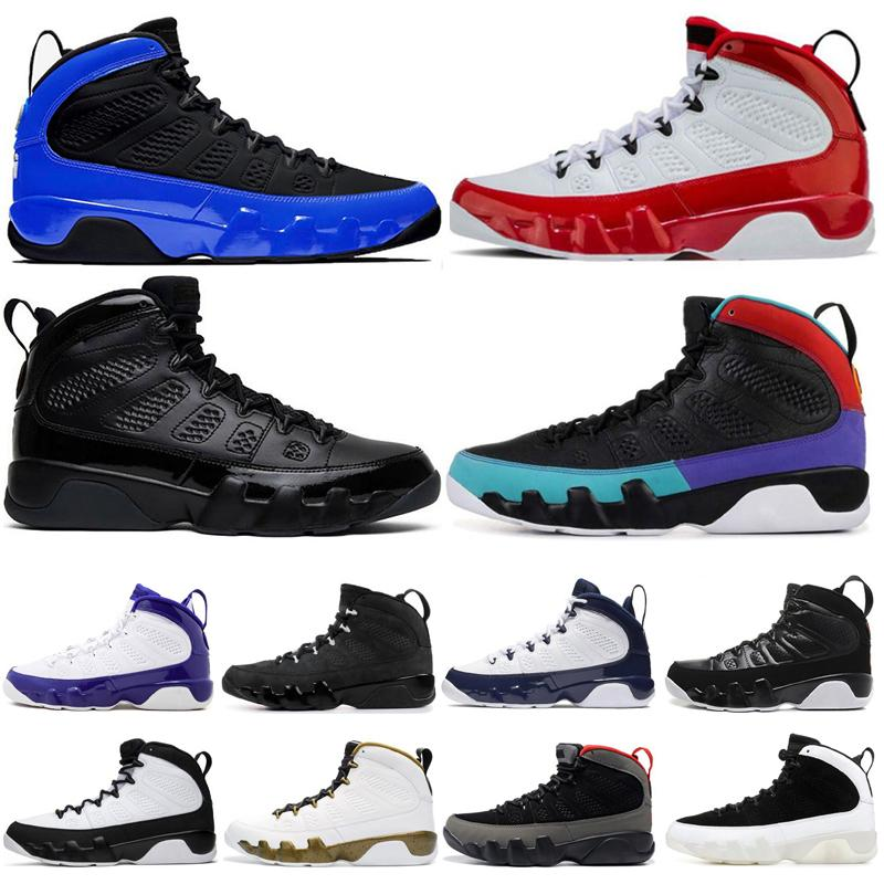Mode 9 9s High Top Schuhe für Männer Schwarz Blaue Statue OG Space Jam Mens Günstige Outdoor Comutable Sneakers Trainer Schuhe