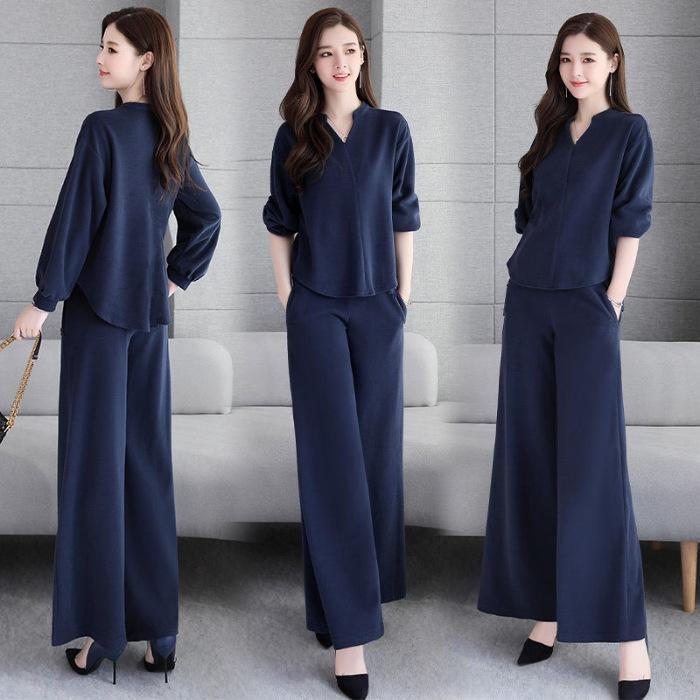 2020 primavera y el traje nuevo del color sólido de la manera suelta otoño de manga larga coreana pantalones de la camiseta de pierna ancha pantsT-camisa amplia pantspants circular de dos piernas
