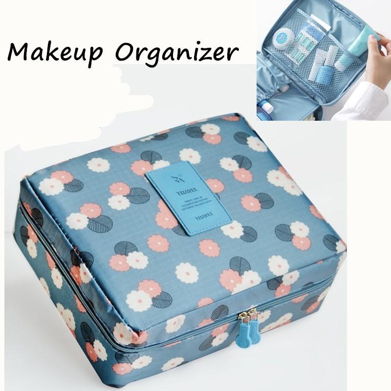 Nylon Zipper Multi-Camada Bag Makeup Bag Cosmetic Bag Case Maquiagem Organizador Organizador para Cosméticos T200301