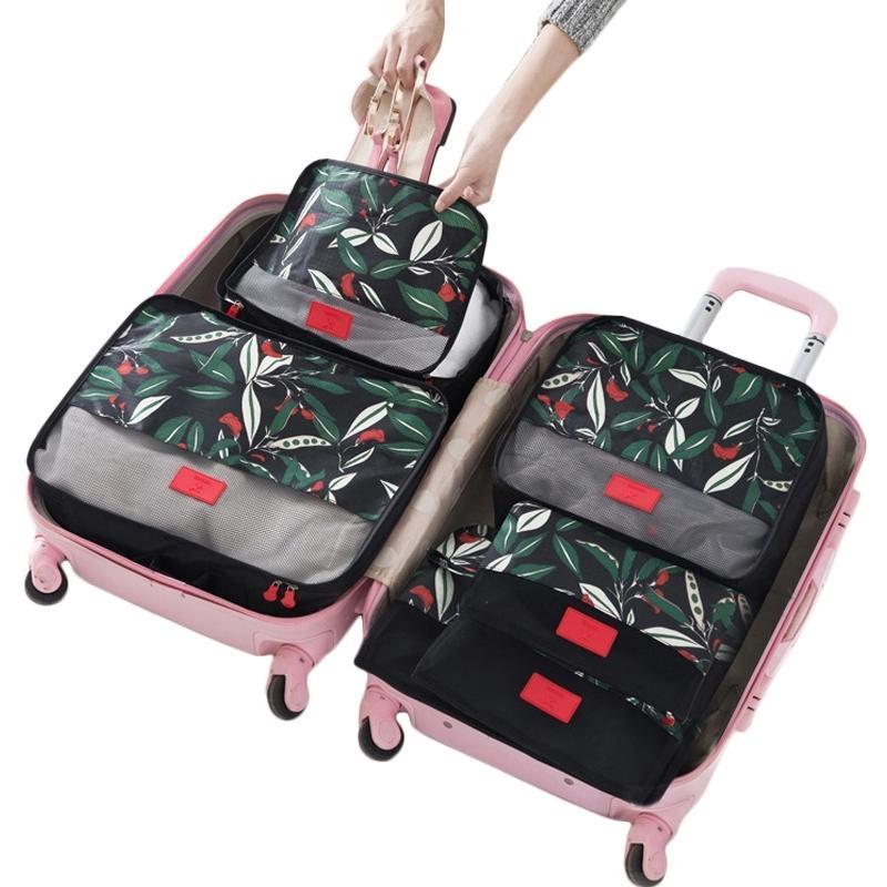 6 PCS Sac de stockage de voyage Sac Ensemble d'organisateur de bagages de haute qualité Emballage Cube Valise Pochette pour chaussures de vêtements Cosmétiques Sous-vêtement Y200714