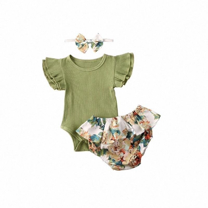 0-24M Cute Newborn Baby Girl Clothes Summer Toddler KIds Short Sleeve Romper Tops Floral Shorts Baby Girls Outfits dPmb#