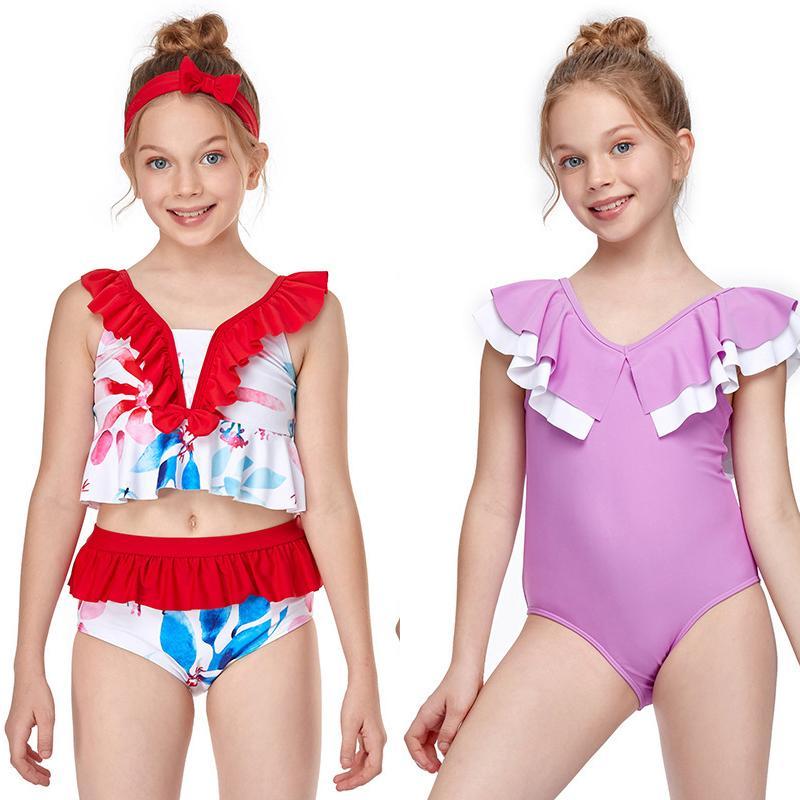 2020 Детские Купальники Детская Мода Пляжное Оборудование Водные Спортивные Розовые Красные Полоса Фиолетовые Центные Костюмы Лето Плавание