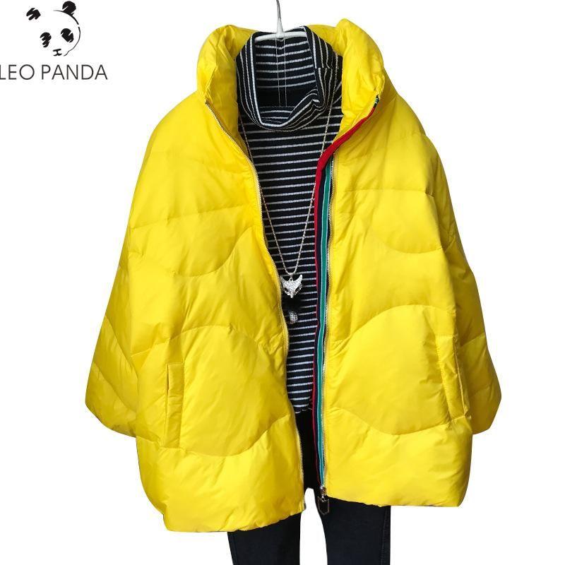 2020 New Fashion Winter Short Bianco Duck Duck Down Piumino Femminile Light Stand Collo Spessore Piuma Cappotto Cappotto Casual Casual Big Size Outwear